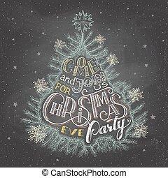 partia, wigilia, chalkboard, boże narodzenie, zaproszenie