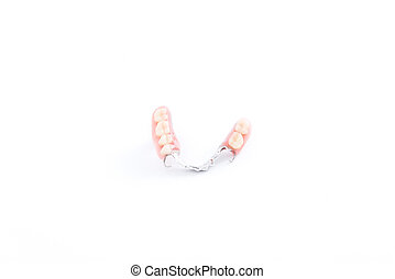 partial denture, dental prosthetics on a white background