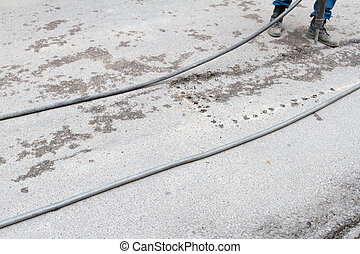 replacement of asphalt on the road