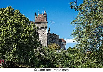 Partial view of Castle of Menthon-Saint-Bernard.