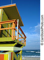 Partial view of Green and Yellow, Art Deco Lifeguard Tower in South Beach, Florida