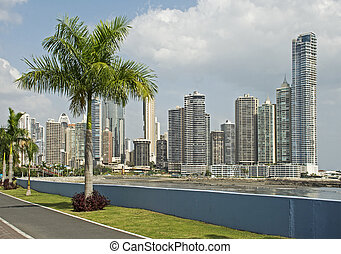 Partial view of Panama City skyscrapers - Partial panoramic...