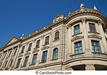 Partial view of the former bavarian state bank historic building in Munich, Germany