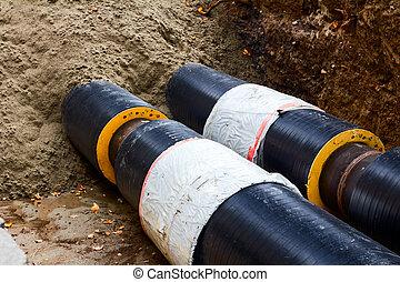 Work in progress, burying pipeline in a urban area.