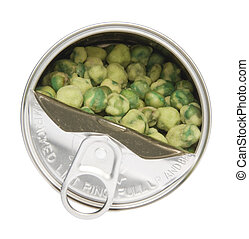 Partially open can of dried wasabi covered peas viewed from above. Isolated on white with a clipping path.