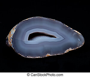 Partially polished blue lace agate geode