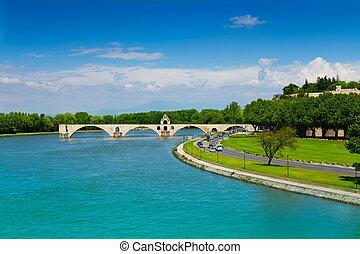 Partially ruined bridge in Avignon, France - Partially...