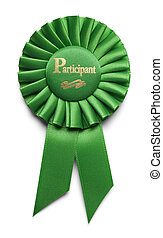 Participant Ribbon - Green Particitpation Ribbon Isolated on...