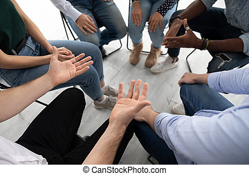 Participants communicating during corporate teambuilding or ...