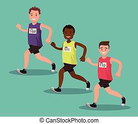 Participants of the international men s marathon. Vector illustration.