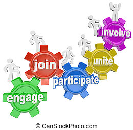 participar, pessoas, escalando, engrenagens, juntar, comprometer, envolva