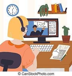 participates, 女, オンラインで, パフォーマンス, ビジネス, 責任者, コミュニケートする, 家, について, graph., ミーティング