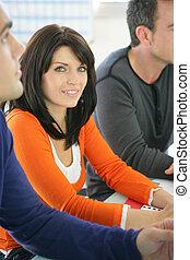 participating, женщина, семинар