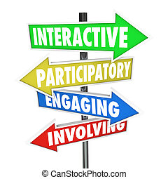 participatory, 従事, 包含, 矢, サイン, 道, 対話型である