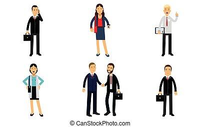 participer, business, financier, commercial, illustration, blanc, gens, vecteur, projets, rapports, isolé, présent, fond, ensemble