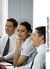 participer, femme, réunion, business