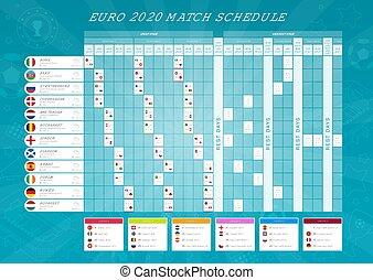 participer, schedule., allumette, table, flags., tout, résultats, euro, 2020, football, final, championnat, pays, européen, tournament.