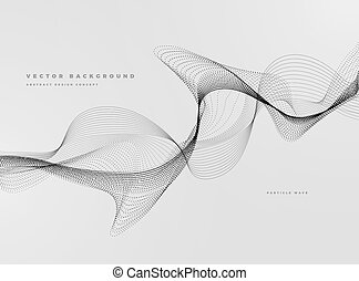Abstract Background with Dynamic Particle water waves, black and white