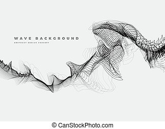Abstract Background with Dynamic Particle sound waves, black and white