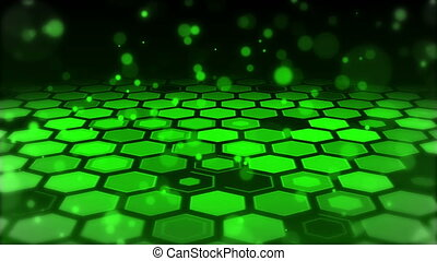 Particle With Green Hexagonal Background