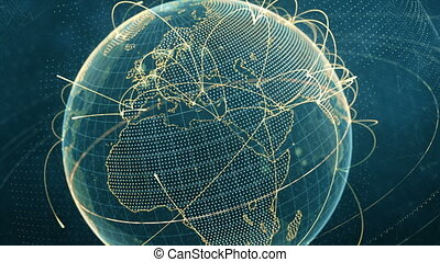 particle world with a growing global network - orange version