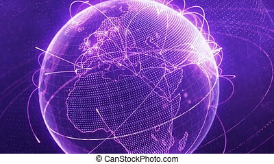 particle world with a growing global network - purple version