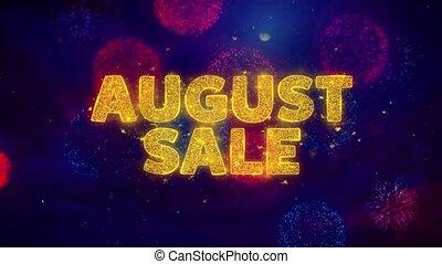 particles., août, texte, explosion, vente, coloré, ftirework