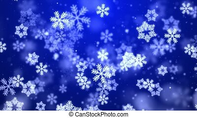 Particles blue snow snowflake winter glitter bokeh abstract ...