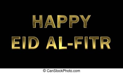 Particles collecting in the golden letters - Happy Eid...