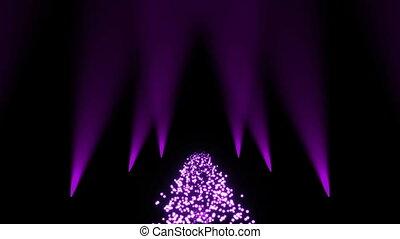 Particles floor with spotlights. Seamless loop