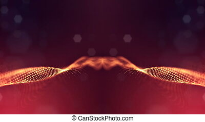 Particles form line, surface grid or mysterious virtual space. 3d seamless animation as digital science fiction background of glowing particles with depth of field, bokeh. Red gold strings 3