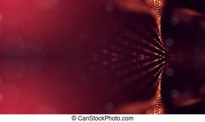 Particles form line, surface grid or mysterious virtual space. 3d seamless animation as digital science fiction background of glowing particles with depth of field, bokeh. Red gold strings 4
