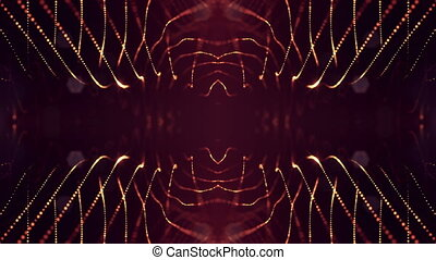 Particles form line, surface grid or mysterious virtual space. 3d seamless animation as digital science fiction background of glowing particles with depth of field, bokeh. Red gold strings 11