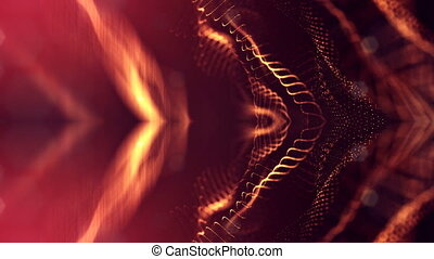 Particles form line, surface grid or mysterious virtual space. 3d seamless animation as digital science fiction background of glowing particles with depth of field, bokeh. Red gold strings 7