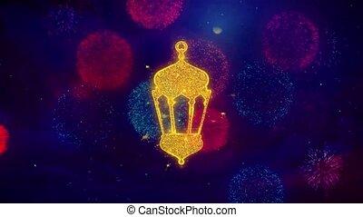 particles., icône, religieux, feux artifice, islamique, symbole, islam, coloré, monument, monuments