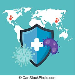 particles of coronavirus 2019 ncov with map world and shield
