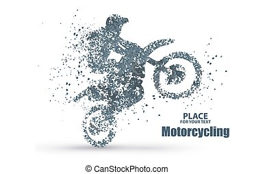Particles of motorcycle riders, full of enterprising across significance vector illustration. vector illustration