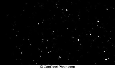 Particles of snow is fall down from left to right at night...