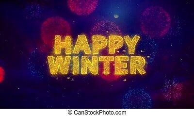 particles., texte, hiver, explosion, coloré, ftirework, heureux