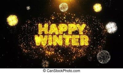 particles., texte, hiver, exposer, feud'artifice, explosion, heureux