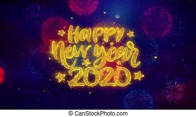 particles., wunsch, glücklich, jahr, neu , text, explosion, ftirework, 2020, bunte