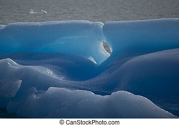 Particular of a blue Iceberg on the Lake Argentino