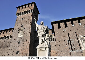 Particular of Sforza's Castle in Milan