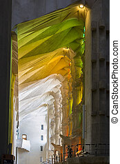 Particular of the colored light inside the Sagrada Familia in Barcelona