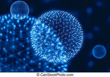 particules, émettre, nano, lumière, nucléaire, champs, physique, modèle, central, atome, structure, radiation, injection, pulsar, noyau, magnétique, cg, rayon x, ou, formulaire, science., bombe, éclater
