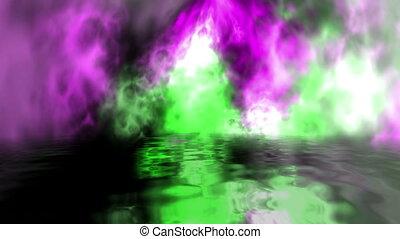 particules, animé, reflet, coloré