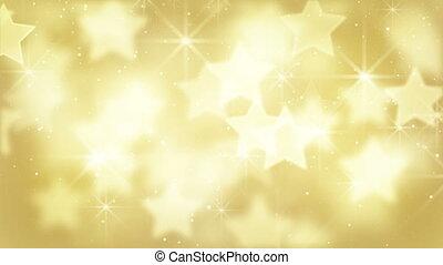 particules, bokeh, étoiles, or, boucle