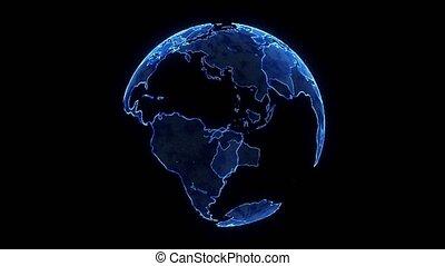 particules, earth., planète, bleu, animation numérique, 3d, la terre