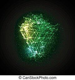 particules, incandescent, 3d, étalage, éclairé