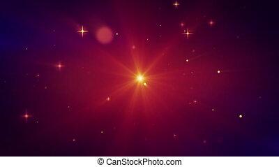 particules, lumière, voler, boucle, rouges
